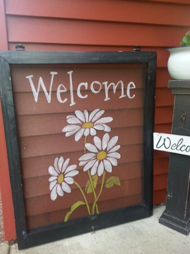 Hand Painted Screen Welcome With Daisies Window Crafts Window Screen Crafts Screen Painting