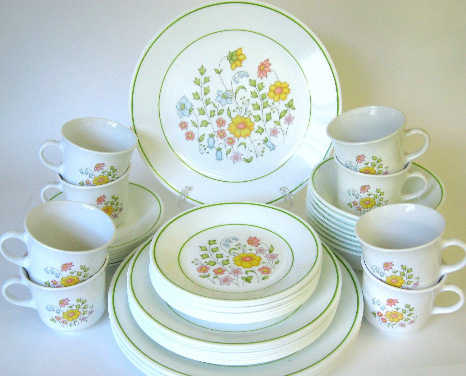 48-Pc Corelle \ Meadow\  Dinnerware Set for 8 -Complete Service for Eight- Spring Floral Livingware Dishes 1970s-80s & 48-Pc Corelle \