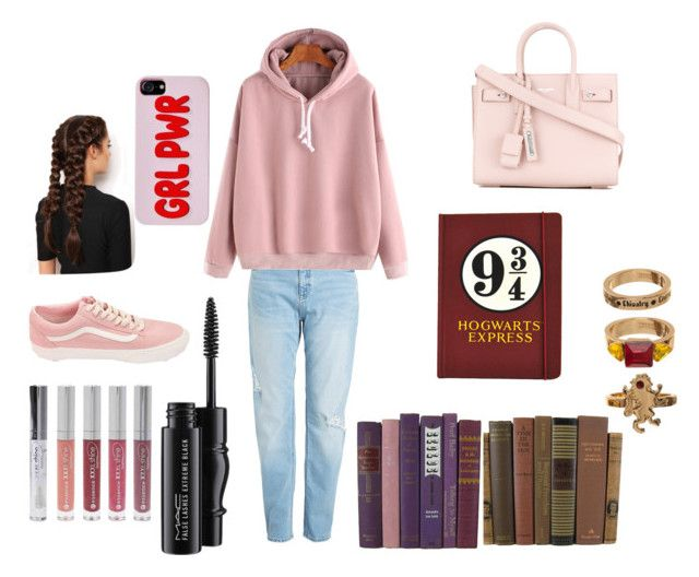 """Hermione Granger"" by laniestar on Polyvore featuring WithChic, Bioworld, Yves Saint Laurent, MAC Cosmetics, Forever 21, Vans and LullaBellz"