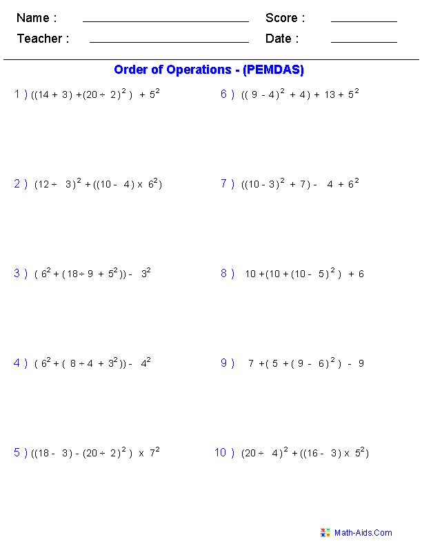 Order of Operations Worksheets – Algebra 1 Practice Worksheets with Answers