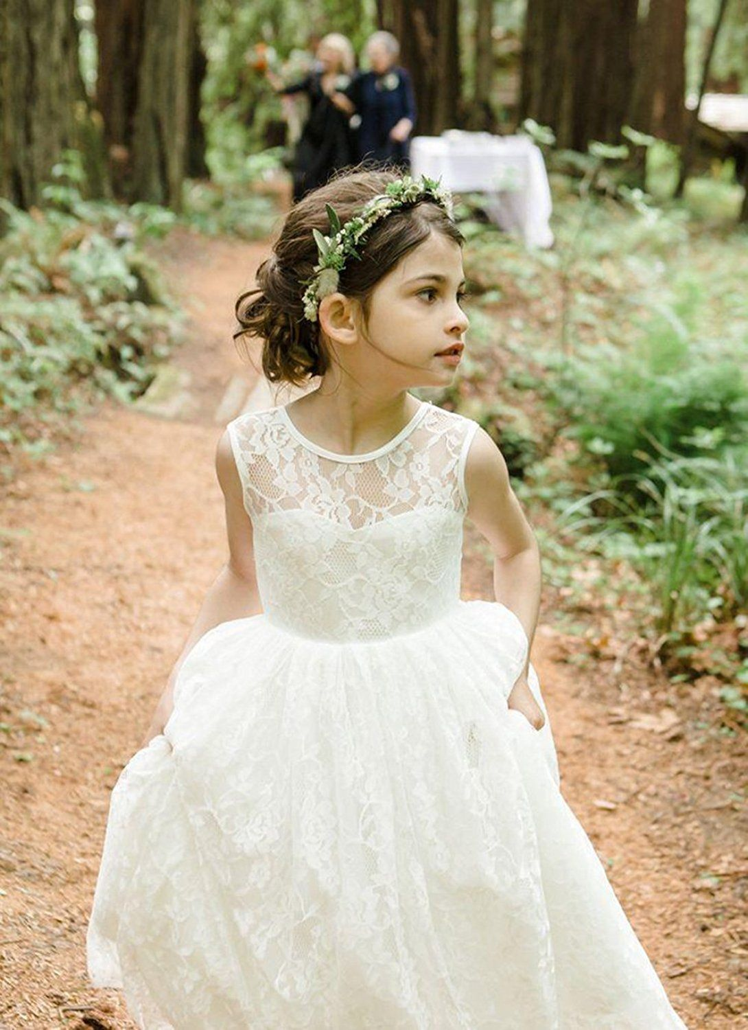 Girls wedding dress  Amazon Ikerenwedding Lace Flower Girl Wedding Dress Gorgeous