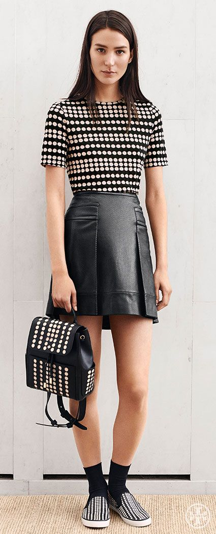 Take on tomboy edge: a T-shirt, sneakers, leather and graphic dots | Tory Burch Pre-Fall 2014