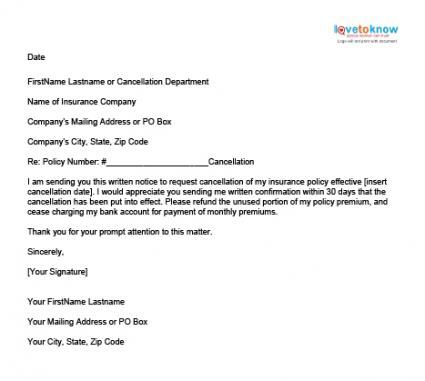Sample Insurance Cancellation Letter Lettering Life Insurance