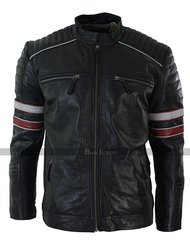 Vintage Cafe Racer Retro Jacket Jackets Men Fashion Leather Jackets Online Striped Leather Jacket