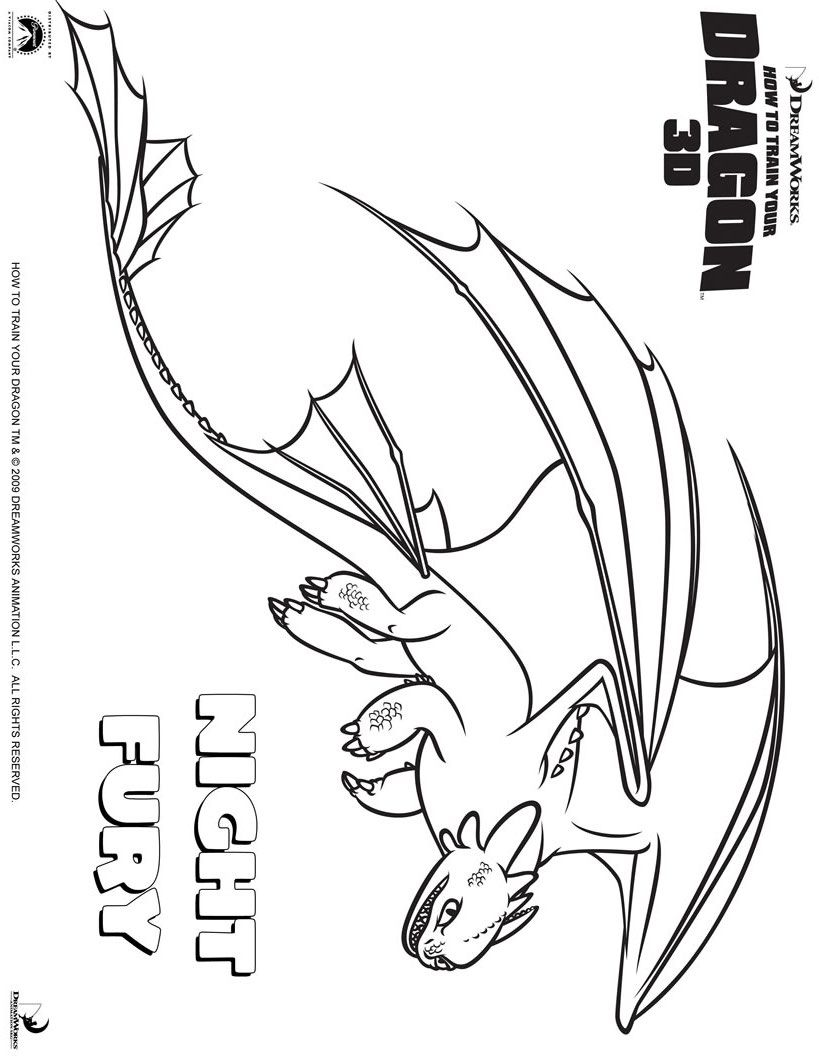 Toothless outline Dragon coloring page, How train your