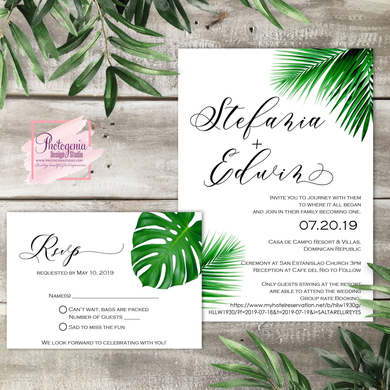 Printable tropical wedding invitation wedding invitation