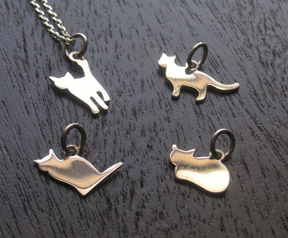Sterling Silver Cat Charm Cat Necklace Sterling by OKUDAdesign, $100.00