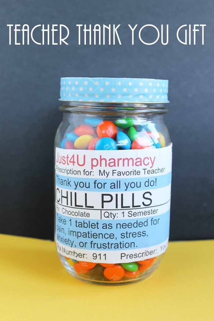 Chill Pill Label for a Teacher Thank You Gift