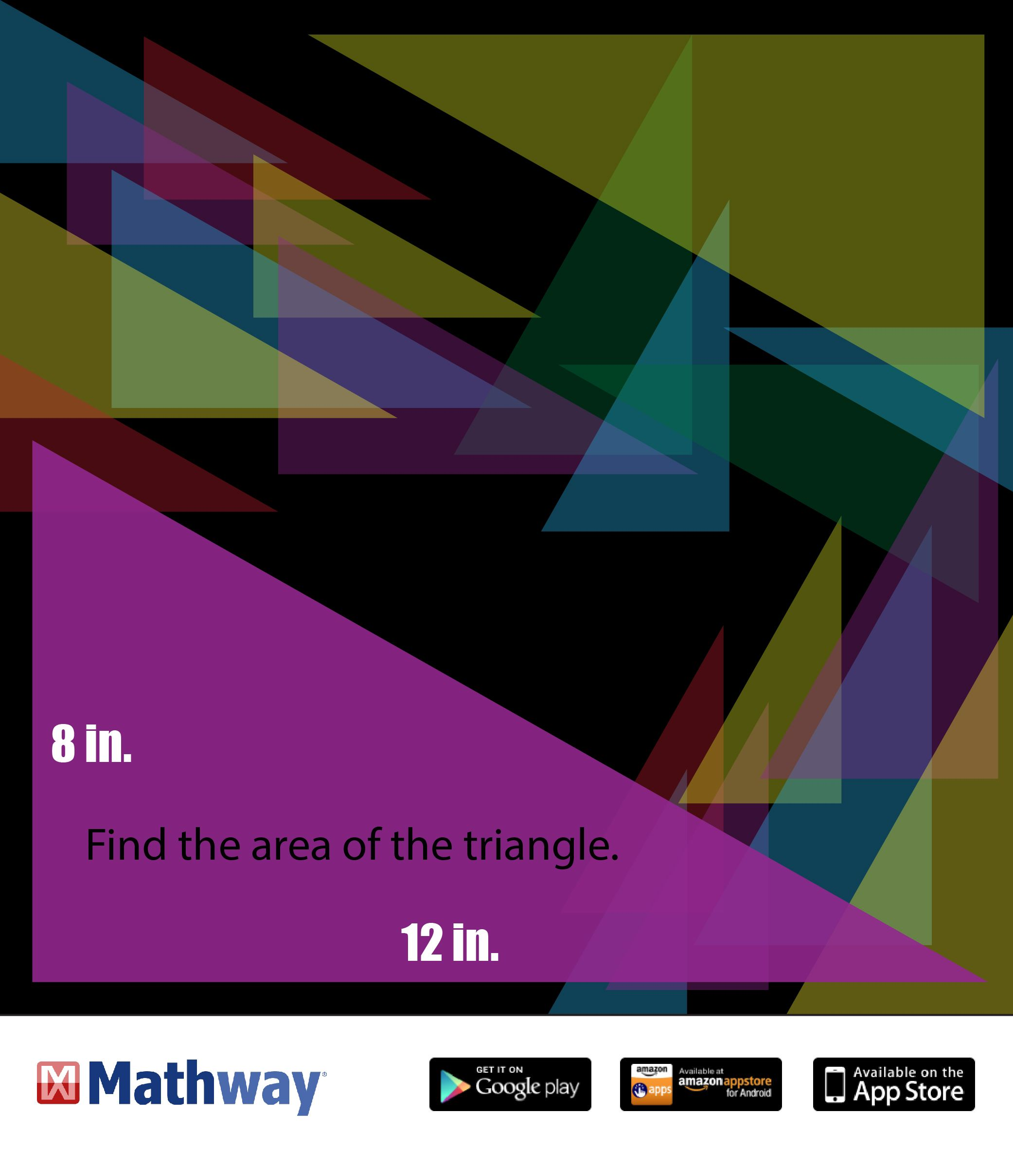 Try this warmup problem and find the area of the triangle