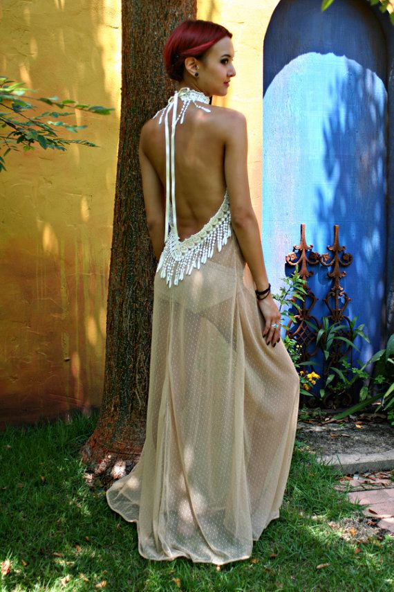 Bohemian Bridal Peacock Fringe Backless Nightgown Nude