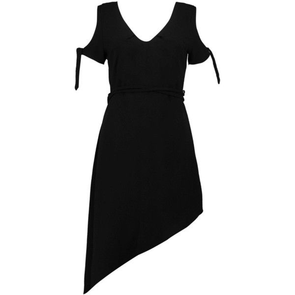 Boohoo Mia Asymmetric Belted Dress ($26) ❤ liked on Polyvore featuring dresses, cami dress, boohoo dresses, dresses with belts, belt dress and asymmetrical cocktail dress