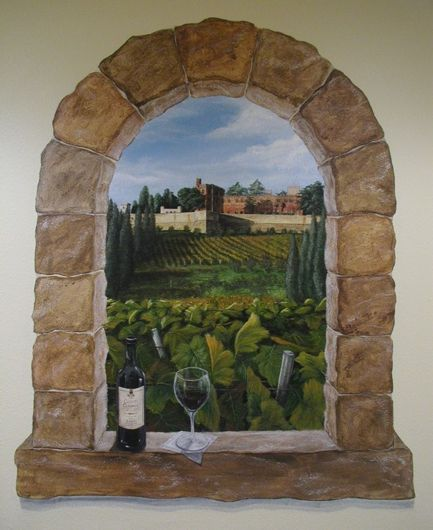 trompe l 39 oeil window and vineyard scene for a private wine cellar by mariah kaminsky mural. Black Bedroom Furniture Sets. Home Design Ideas