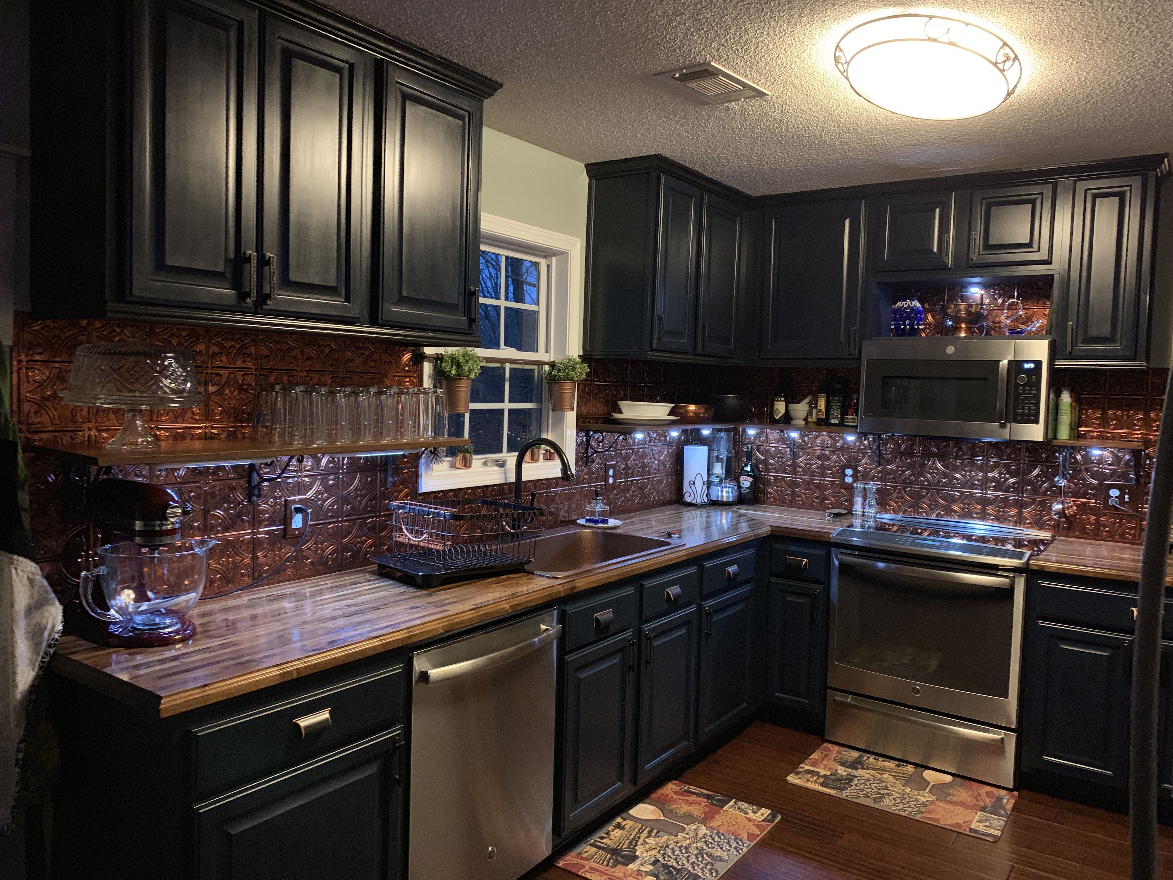 Midnight Blue Fusion Mineral Paint Kitchen With Sinkology Copper Sink And Fasade Moonstone Copper Backsplash Kitchen Paint Copper Backsplash Kitchen