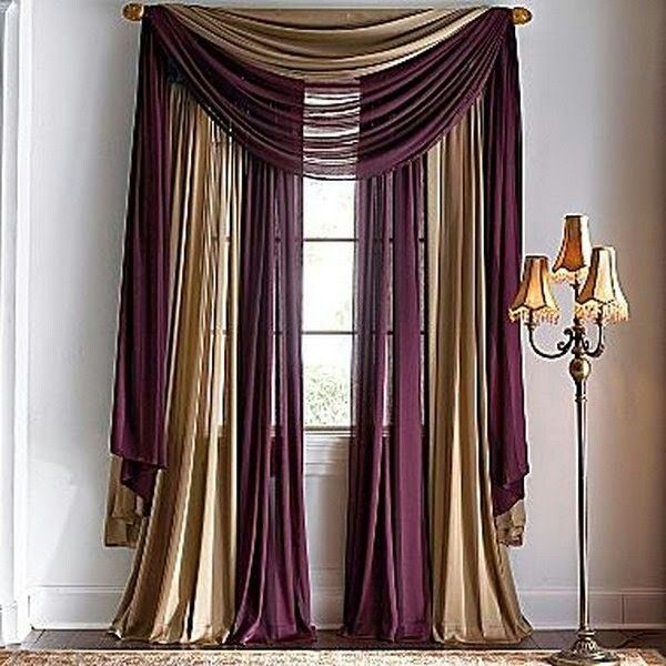 Purple Gold Curtain Hanging Ideas Window Scarves Window Scarf