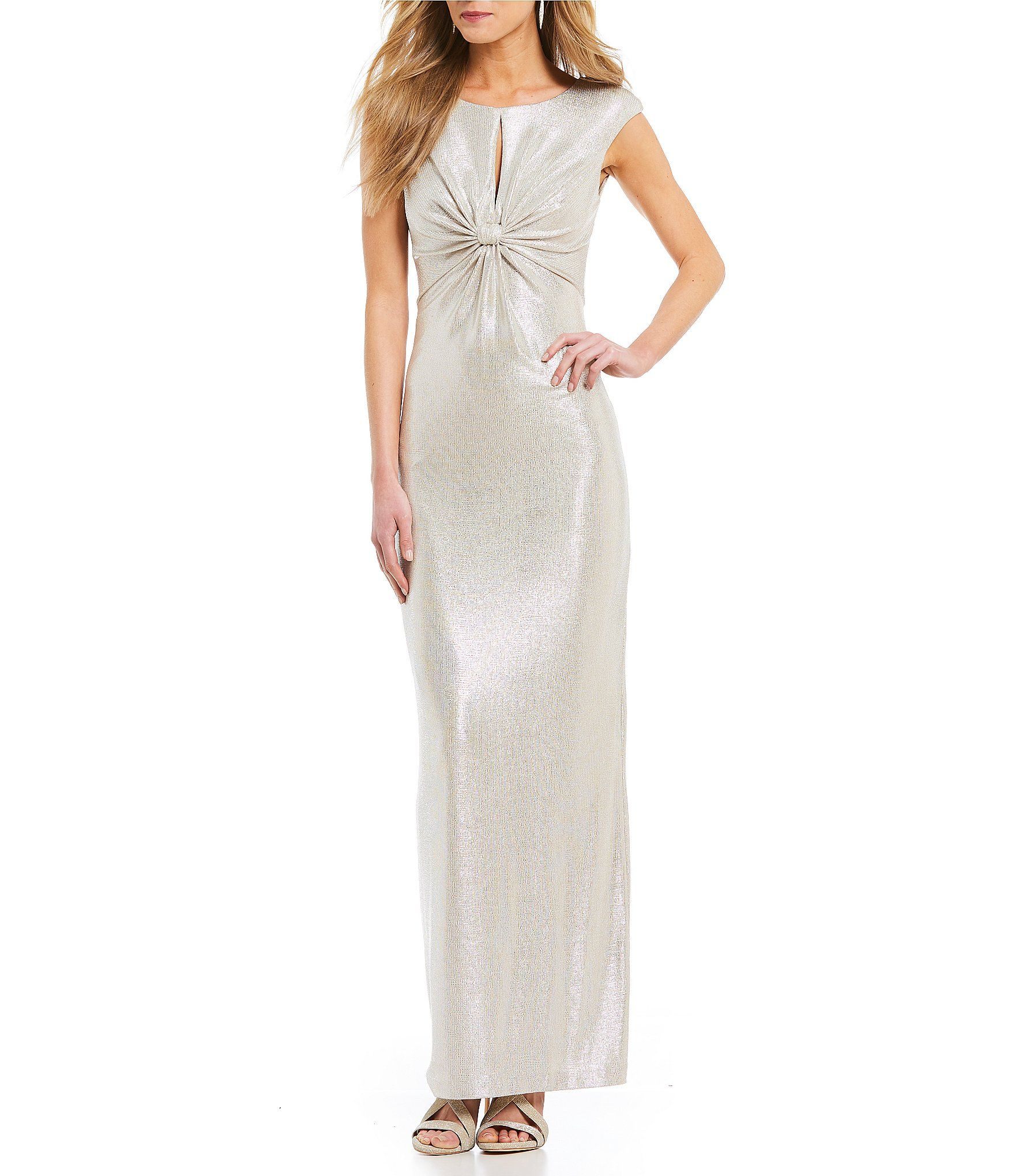 Vince Camuto Keyhole Front Knot Metallic Gown #Dillards   Dresses ...