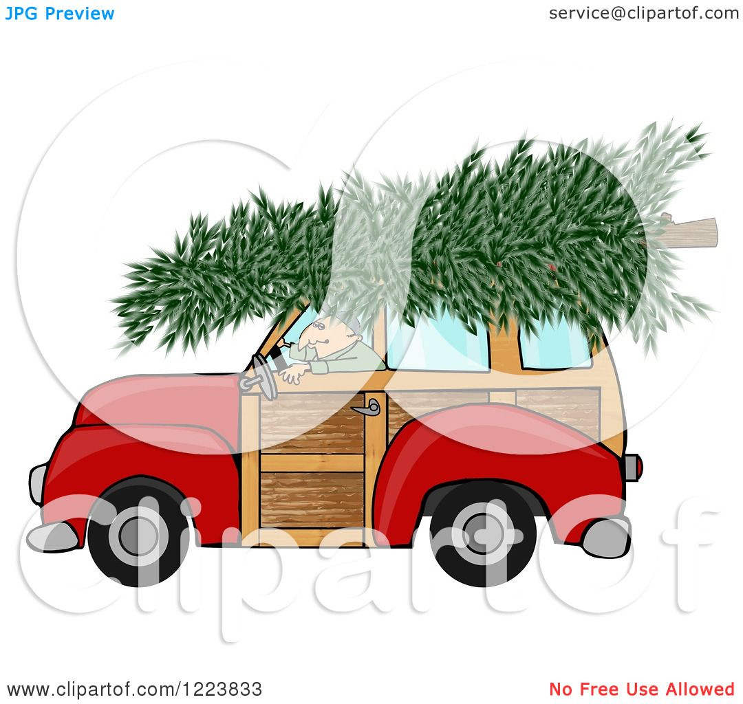 Clipart Of A Man Driving A Red Woody Car With A Christmas Tree On Free Illustrations Illustration Cartoon Styles