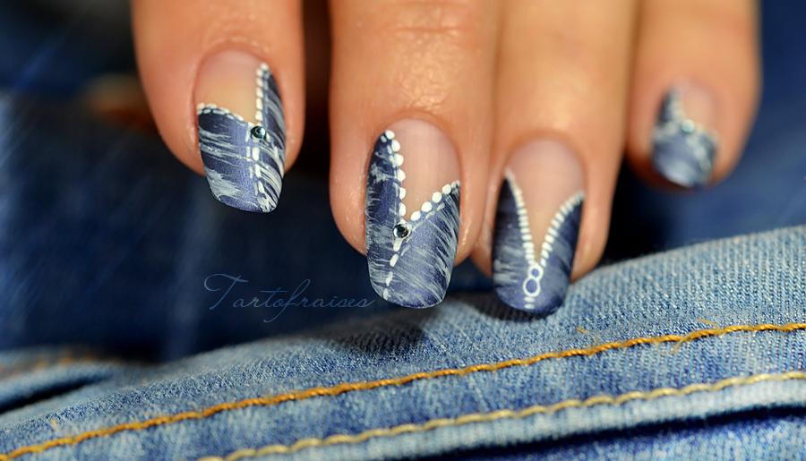 Nail Art Blue Jean Denim Trs Facile Pour Dbutants Nails
