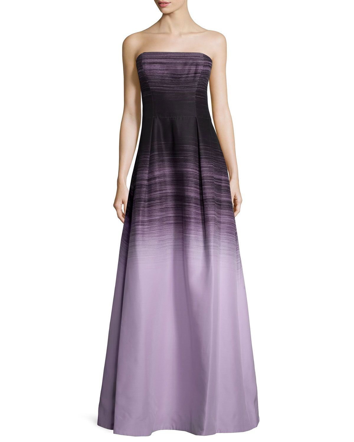 Halston Heritage-Strapless Ombre Ball Gown Black/Thistle | Dresses ...