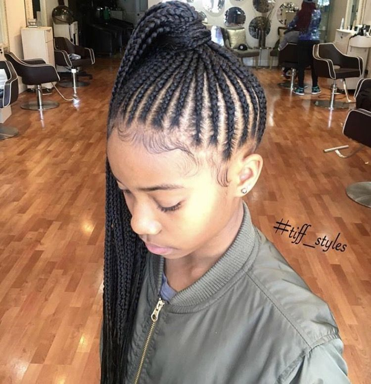 P I N T E R E S T E N D E Y A H Cornrow Ponytail Girls Hairstyles Braids Kids Braided Hairstyles