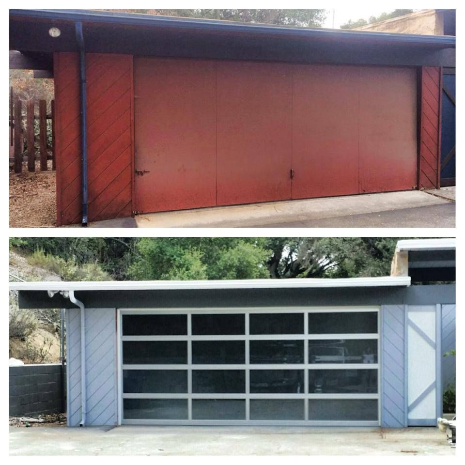 Mid century modern garage doors with windows - Before And After Garage Door On This Mid Century Modern Home Remodel Grey Blue