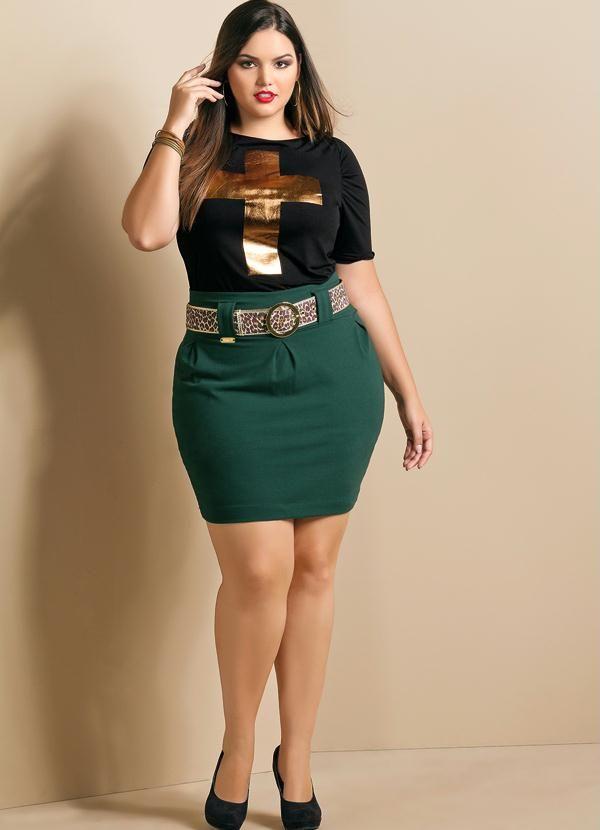7deaaa3de Saia Curta Verde Plus Size - Quintess | Plus Size Fashion | Saias ...