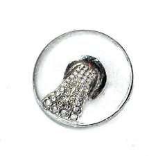 Mercerie Bouton ancien art déco en verre transparent et argenté 14mm button