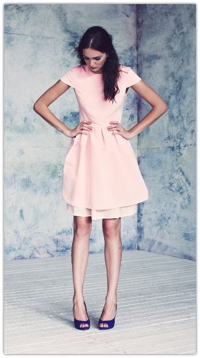 ddc6c931a54 Love The combination with the pale pink sweet dress and the bold blue peep  toes