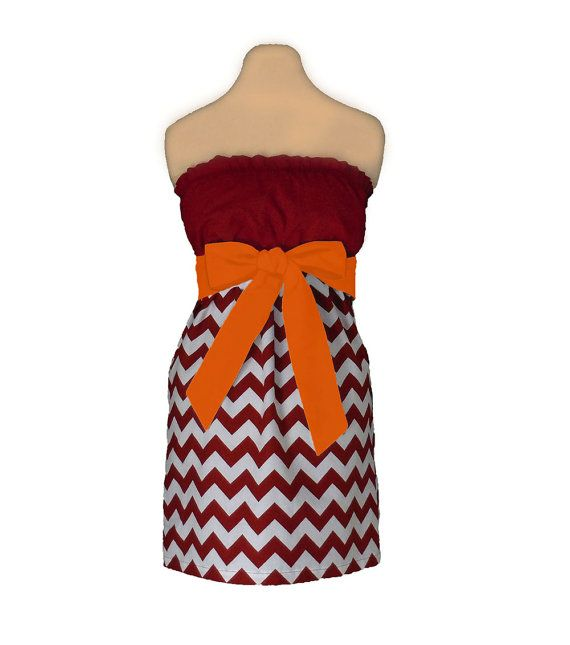 Orange and Maroon Chevron Game Day Dress on Etsy, $39.99