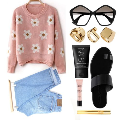 Pink Long Sleeve Sunflower Pattern Knit Sweater