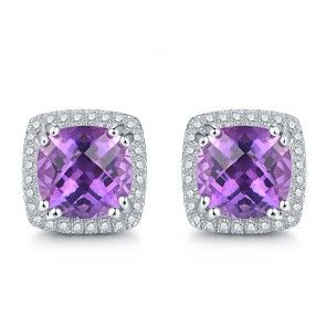 Cloths Of Heaven Trendy Luxury 5 0ct 100 Genuine Natural Amethyst Sterling Silver Jewelry Square Earrings For Women Gift 8mm Geshia