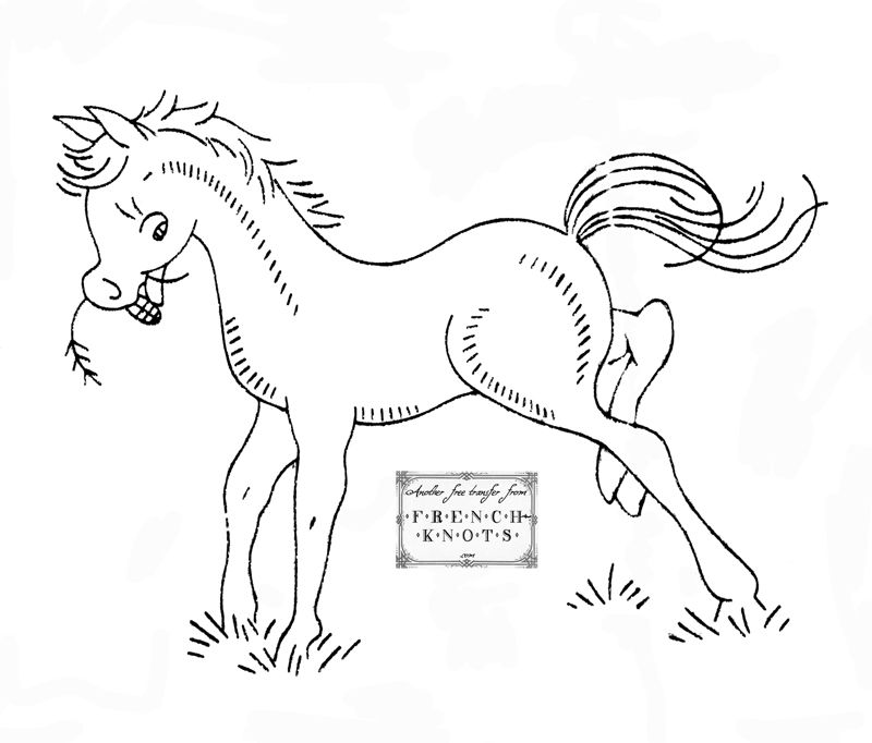 free hand stitching patterns | free vintage pony embroidery transfer ...