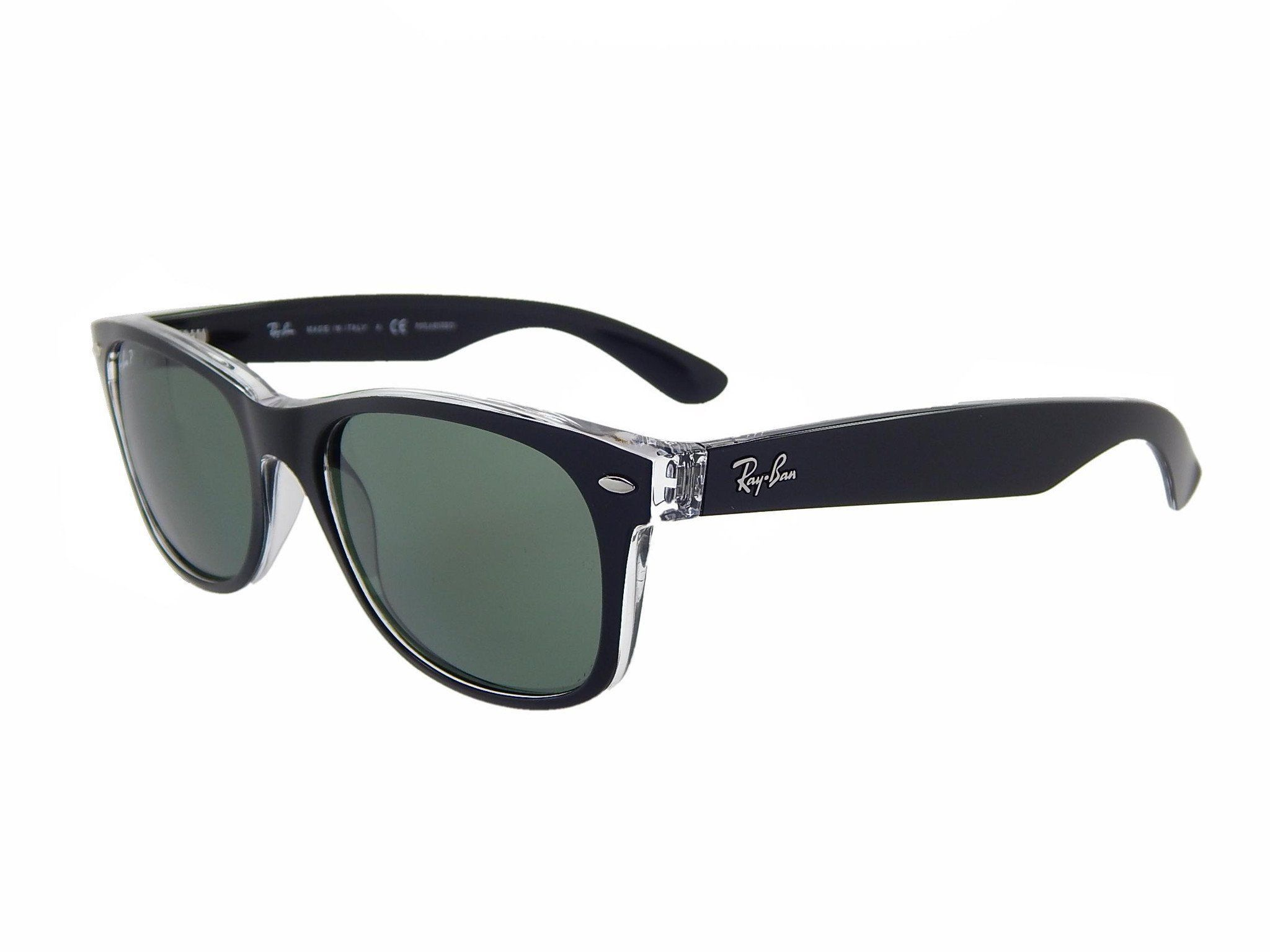 ac814f8744 Ray Ban RB2132 605258 Black Transparent Crystal Green Polarized 55mm  Sunglasses