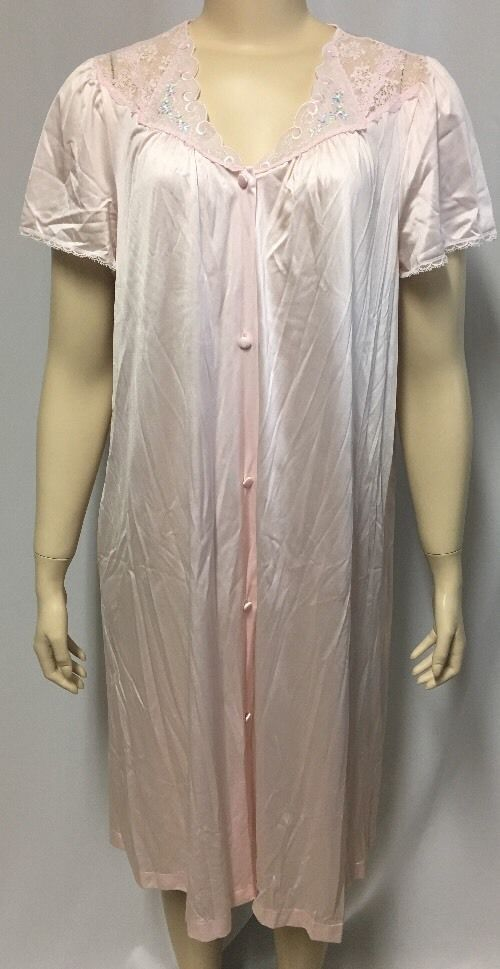 Vintage Vanity Fair Nightgown M Pink Lace Womens Floral Pajamas USA ...