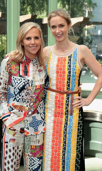 Emily Blunt hung after the show with designer Tory Burch at Cooper Hewitt, Smithsonian Design Museum.