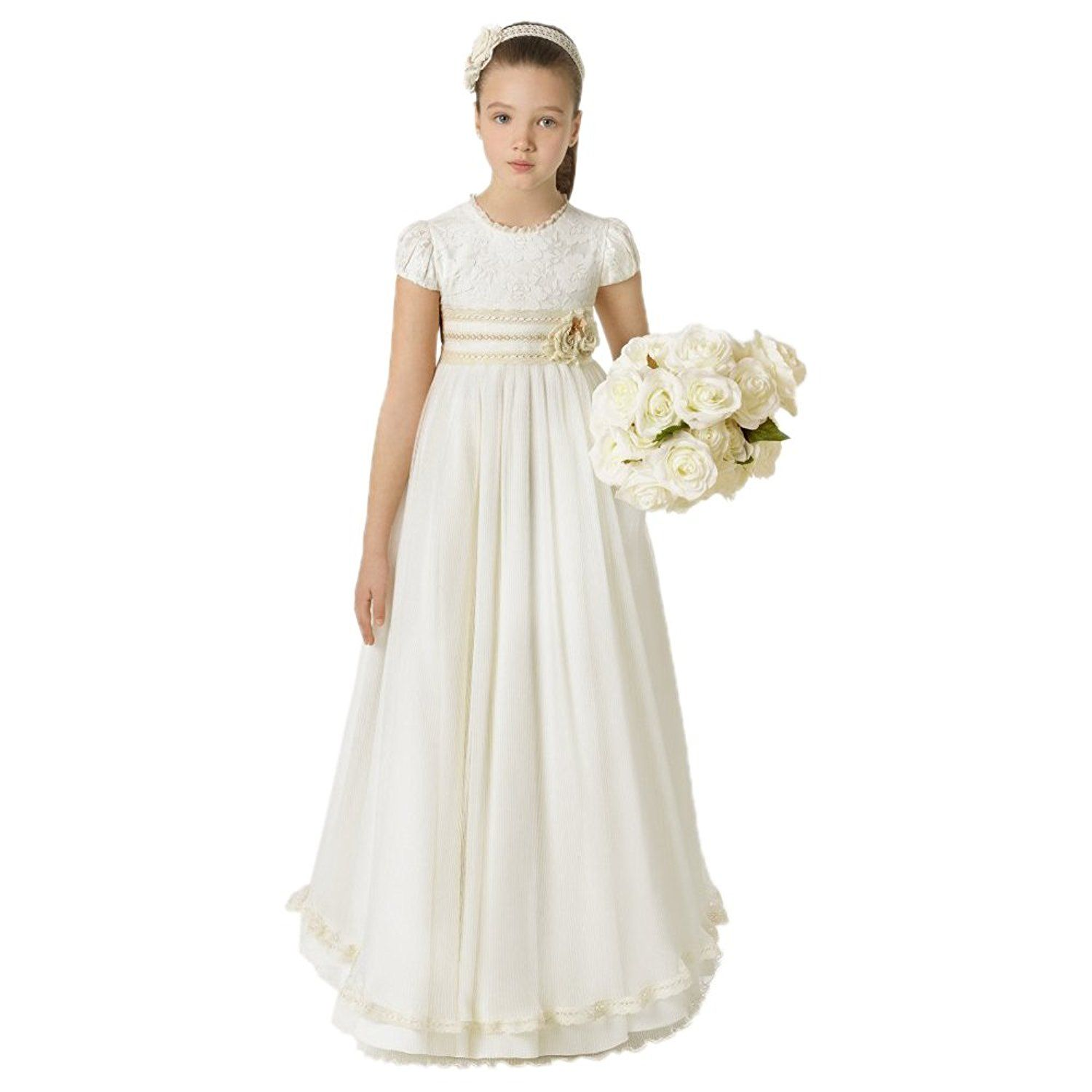 7846169ee8 Amazon.com  White Girls First Communion Dresses Princess Lovely Gowns 2016  2-12 Year Old  Clothing