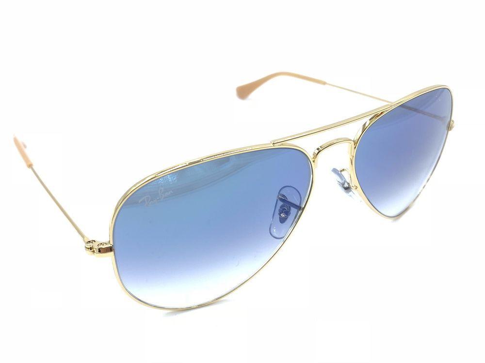 de4f12d71f5e4 Ray-Ban Aviator 3025 001 3F Shiny Gold Sunglasses Blue Gradient Lens ...