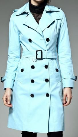 Belted Trench Coat, Light Blue