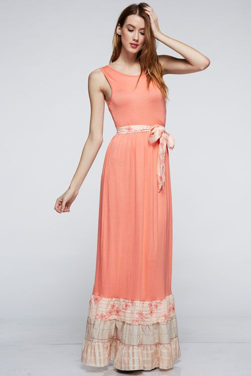 Coral Reef Mixed Fabric Dress