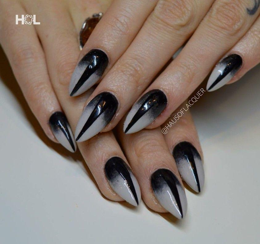 White And Black Ombre Stiletto Nails Nails Almond Nails Nails