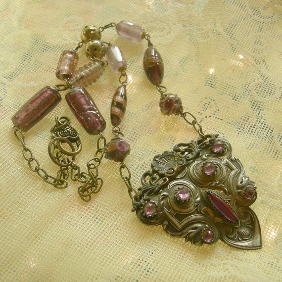Art Deco Assemblage Necklace  Vintage Bronze and by Vintagearts