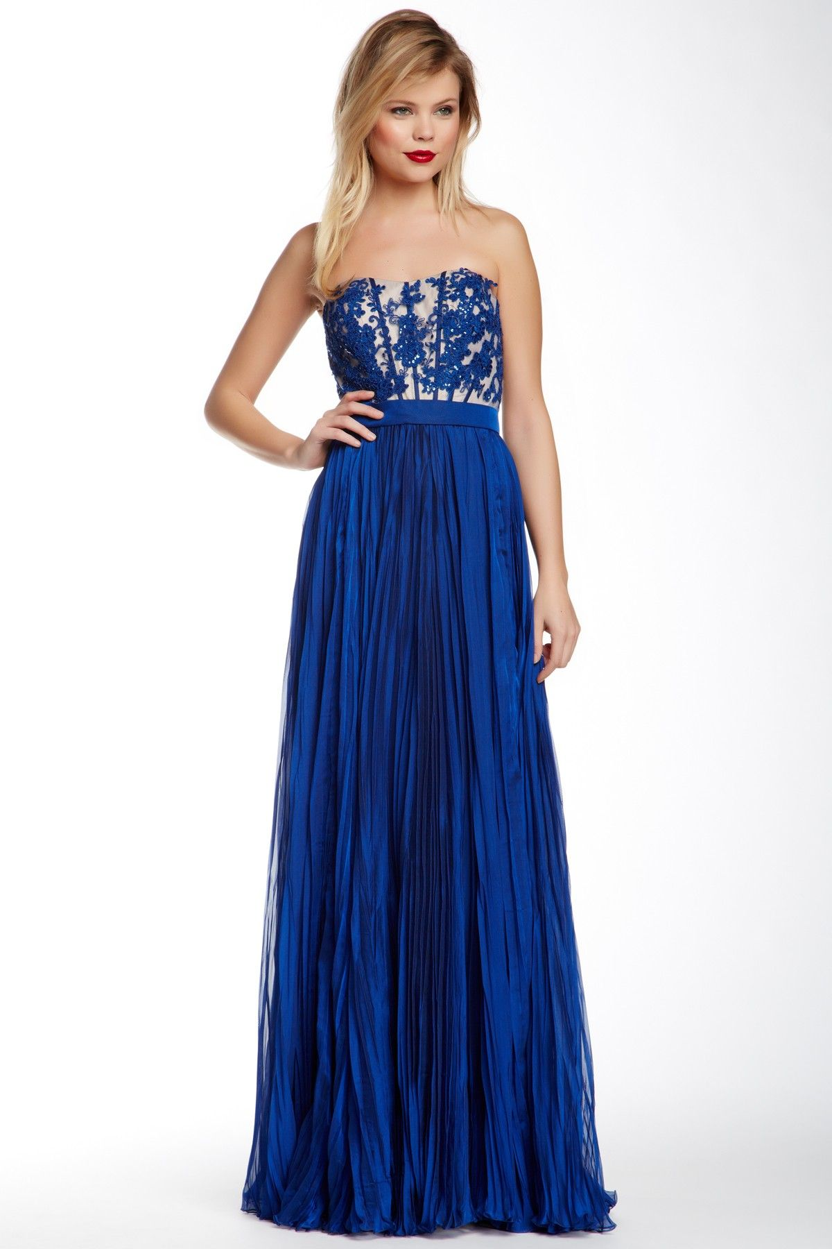 9f7da46d59ea Strapless Pleated Gown by La Femme in Marine Blue