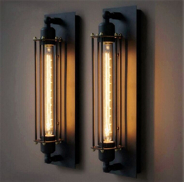 Led Indoor Wall Lamps Vintage Iron Shelf Wall Lamp Sconce Residential Lighting Black Iron Corridor Balcony Light Lamp