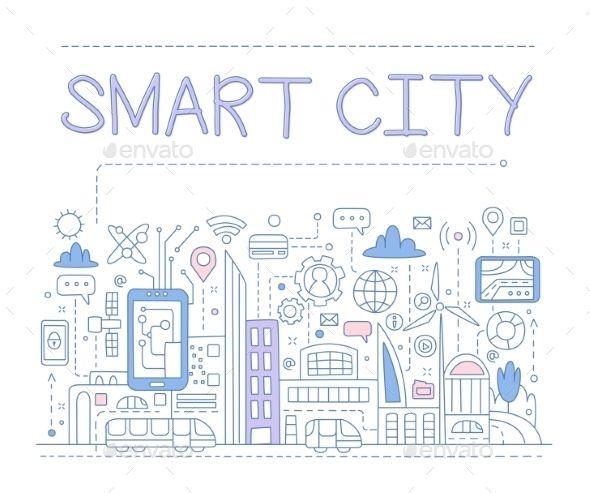 Smart City Smart City Graphic Design Cv Vector Illustration Design