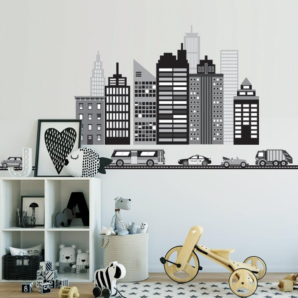 Cityscape Wall Decal Black And White City Skyline Wall Decal With