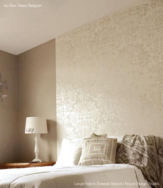Stencil A Headboard Wall For An Elegant Guest Bedroom Stenciling - Bedroom wall stencils design