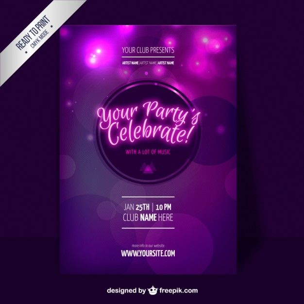 Molde do partido roxo Flyer Purple party, Party flyer and Flyer - party flyer