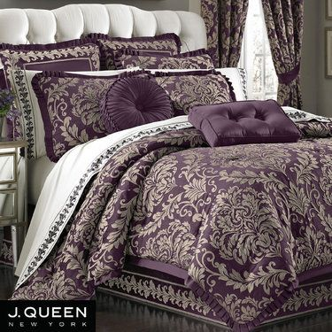 Wellington Damask Plum Comforter Bedding by J Queen New York