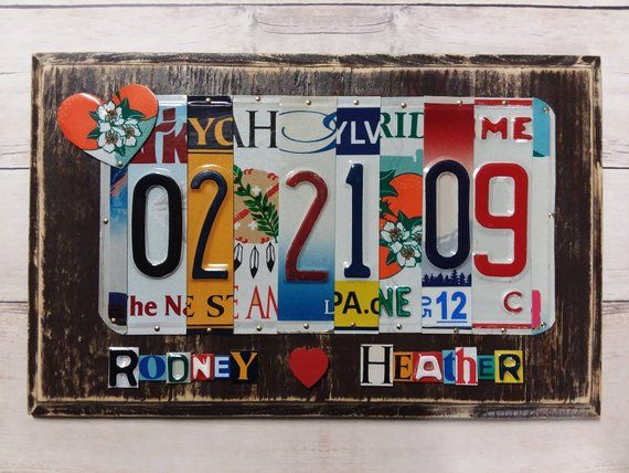 10 Year Anniversary Gift Recycled License Plate Art High Etsy In 2020 Mens Anniversary Gifts 10 Year Anniversary Gift Year Anniversary Gifts