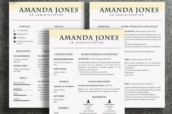 Resume Template Amanda @creativework247 Resume Design Pinterest