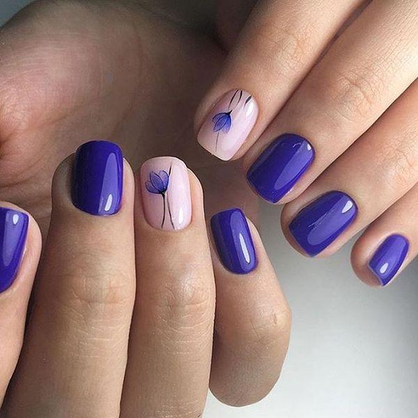 Beautiful purple nails, Drawings on nails, March nails, nails under ...